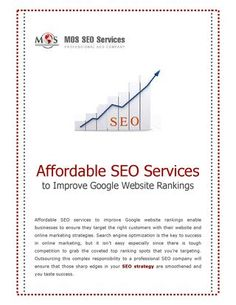 Affordable SEO Services to Improve Google Website Rankings - Affordable #SEOservices can benefit you with high search engine rankings and increased traffic. These services help target the right customers and improve productivity and profit.