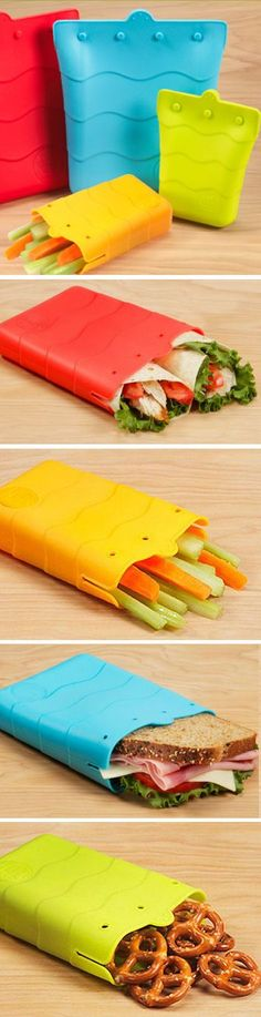 Cool Kitchen Gadgets - Reusable Silicon Sandwich Bag - great alternative to expensive ziploc bags. Cool Kitchen Gadgets, Cool Kitchens, Kitchen Tools, Objet Wtf, Alternative To Plastic Bags, Tips And Tricks, Cool Inventions, Gadgets And Gizmos, Fun Gadgets