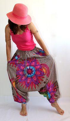 Pantalones de harén de verano  flores pantalones de Aladdin