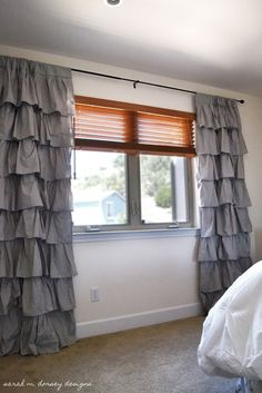 DIY ruffle curtain. You don't have to be good at sewing!!