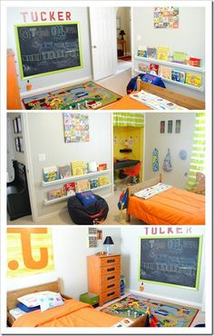 Love the use of closet as desk area and book shelves on the wall