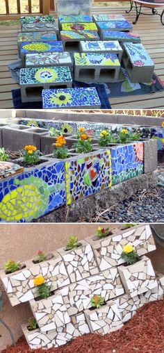 Simple and Cute DIY Mosaic Ideas for Garden and Yard – # … - Easy Diy Garden Projects Mosaic Garden Art, Mosaic Art, Mosaic Tiles, Mosaic Mirrors, Garden Crafts, Diy Garden Decor, Garden Projects, Easy Garden, Garden Decorations