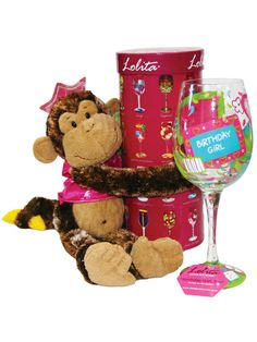 Birthday Girl Lolita Wine Glass Gift Set. Item Number: 2011040599.jpg   Celebrate a birthday with this handpainted Lolita Birthday girl wine glass, hugged by this cute princess monkey. Add a bottle of wine to complete your gift.