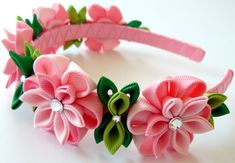 Kanzashi Fabric Flower headband. Pink flower crown by JuLVa