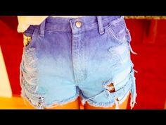 как сделать рваные, шипованные, омбре джинсовые шорты - YouTube