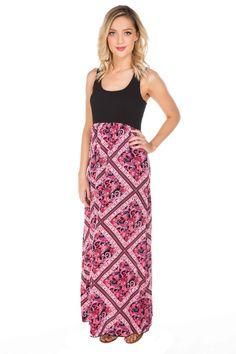 Scarf Print Maxi Dress #eclipse