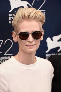 These sunglasses though! - Tilda Swinton Wears A Suit