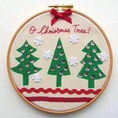 Christmas tutorial_stencilled embroidery hoop by angharad handmade, via Flickr