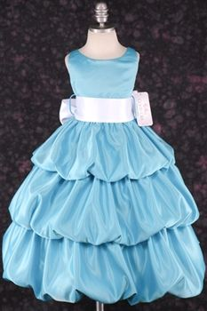 turquoise flower girl dress with red sash