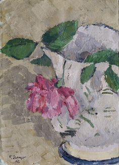 Reproduction tableau de Hans Berger, Still Life with Hanging Rose, 1916 Still Life 2, Be Still, Oil On Canvas, Floral, Painting, Roses, Dessert, Collection, Decor