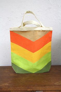 Painted Chevron Tote Bag