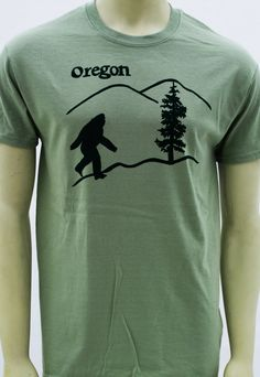Oregon Bigfoot sasquatch T Shirt. In 3 colors up to by MatleyInk