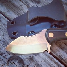 """Skinner Sqiud Neck Knife  This little beauty is handcrafted from 01 tool sreel, heat treated and etched, finished to a high polish.  This knife is 5 1/2"""" long. The blade is 2 1/2 """" long.  The scales are made of Kydex and brass. The sheath is Kydex and has an inside belt clip.  You can get this beauty at my etsy store https:// etsy.com/listing/230885312/squid-skinner-neck-knife  #knife #knifeporn #knives #customknives #neckknife #kydex #kydexholster #survival #skinner #hunting #huntingear"""