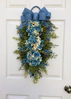 Hydrangea SwagParadise Blue with Denim Look BowFront Door