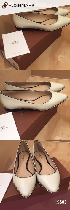 Coach flats Ivory with gold beadchain piping classy flat Coach Shoes Flats & Loafers