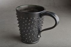 Spiky Mug Made To Order Black and Clear by symmetricalpottery