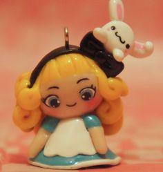 Alice in Wonderland Chibi Polymer Clay Charm.