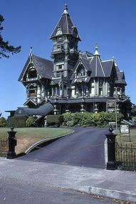 Eureka, CA  This is one GOTHIC gothic mansion!  just my style!  Stunning architecture, and a convoluted, mysterious feel...I would expect to see gargoyles at this gate!