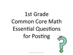 **1st Grade Common Core Math Essential Questions for Posting**Posting EQ's will help students to master the skill or the knowledge needed in or...