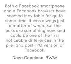 Both a Facebook smartphone and a Facebook browser have seemed...