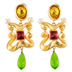 Pair of Dangling Ear Clips by Christian Lacroix   From a unique collection of vintage clip-on earrings at http://www.1stdibs.com/jewelry/earrings/clip-on-earrings/
