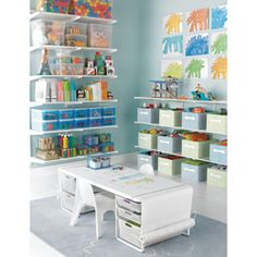 The Container Store > White elfa Playroom & Kids' Coloring Table- perfect for the task of organizing toys today :  )