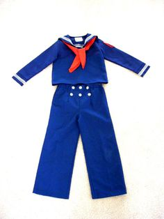 "Vintage Little Boys Sailor Suit 70s Navy Blue Childrens Sailor Outfit Size 6 Great for Halloween  - ""Cracker Jack"""