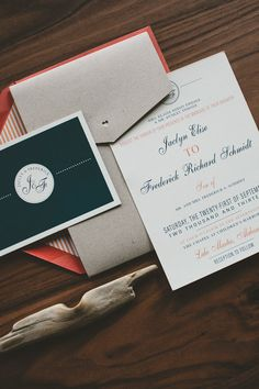 I like the different don't choices...Classic and Modern Wedding Invitation Navy Coral by WideEyesDesign, $2.50
