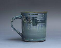Pottery coffee mug, ceramic mug, stoneware tea cup navy blue 14 oz 3983 by BlueParrotPots on Etsy