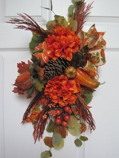 Your place to buy and sell all things handmade Fall Swags, Fall Wreaths, Door Wreaths, Floral Arrangements, Flower Arrangement, Diy Wreath, Fall Crafts, Floral Design, Autumn