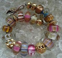 Goldstone accent lampwork beads BHB Bracelet