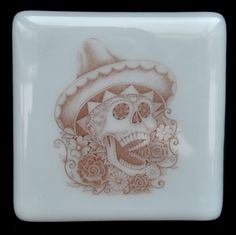 Fused Glass Coaster - Dia De Muertos 08 – Day Of The Dead – £7 each or £24 for a set of 4. Original drawings by Jiewsurreal (stock photos). All coasters measure approximately 10 x 10cm, with clear rubber bumpers on the base to keep them in place and protect your furniture. www.glassbygenea.co.uk #glassbygenea #fusedglass