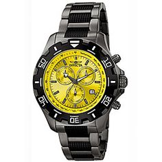 @Overstock.com - Invicta gunmetal chronograph is the perfect timepiece for everyday wear  Men's watch provides a dressy look with a sporty feel  Watch showcases a polished and brushed gunmetal stainless steel casehttp://www.overstock.com/Jewelry-Watches/Invicta-Mens-Invicta-II-Yellow-Dial-Gunmetal-Chronograph-Watch/4458425/product.html?CID=214117 $91.12