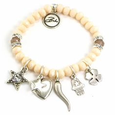 Bibi Bijoux Beaded Lucky Charm Bracelet in Blush