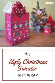 When it comes to recreating the terrifically tacky look of an ugly Christmas sweater on a gift bag (or box), absolutely anything goes. So, grab some glue and fasten your seatbelt because things are about to get ugly!