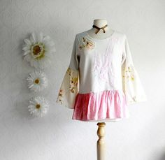 Shabby Chic Top Upcycled Clothing Women's Pink by MyFairMaiden,