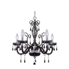 CANARM Bella 5-Light Black Chandelier with Acrylic Jewels-88130/5-BK at The Home Depot