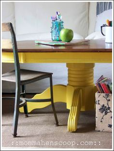 Painted dining table... very interesting color... I think I'd like it better with a white top, or even grey.