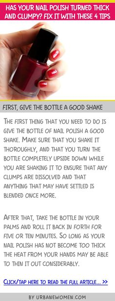 Has your nail polish turned thick and clumpy? Fix it with these 4 tips - First, give the bottle a good shake