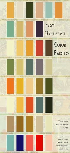 This is our color palette-- and how it fits in with a general Art Nouveau/Art  Deco color scheme.