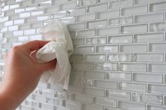 Retile fire place, step by step instructions with pretty white glass mosaic