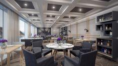 En esta ocasión volvemos al sector naval para diseñar un conjunto de infografías 3D del interior del restaurante de un ferry.  Como se puede observar en los renders, por el tipo de estancia se ha puesto más interés en la calidad de los materiales y en la decoración, lo cual se sale del estilo funcional habitual de este sector.