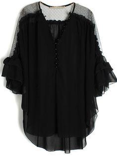 Black Flare Lace Ruffle Chiffon Blouse.