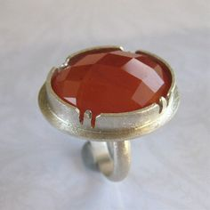 Handcrafted Orange Red Carnelian Cocktail Ring Size by tkmetalarts, $200.00
