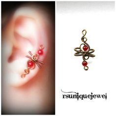 Wire Wrapped Burgundy Red Ear Cuff Gothic Earring by rsuniquejewel