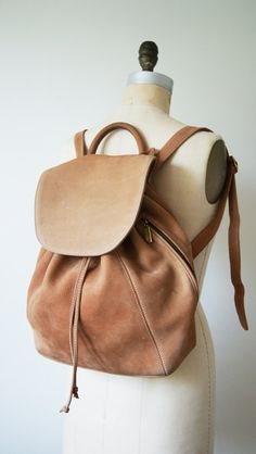 fe3ab2f1a786 Vintage Leather Backpack. 90s Coach Bag   Bookbag   Rucksack. Tan   Honey  Pebbled Nubuc Bag