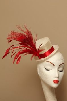 Red & white Preakness hat - called a Fascinator