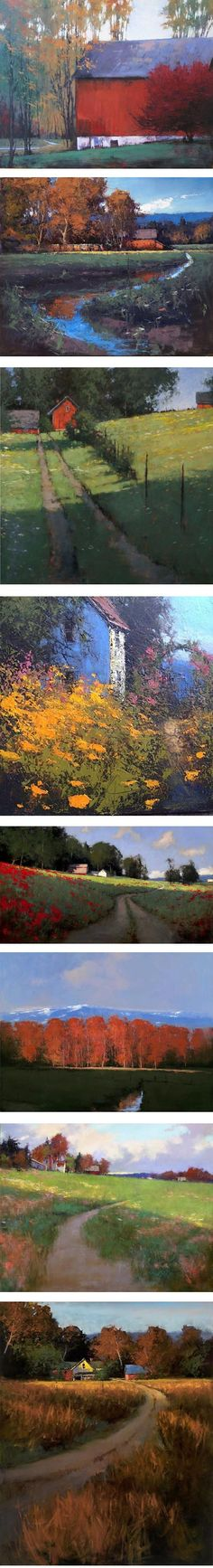 Romona Youngquist is a painter based in Oregon whose paintings of pastoral fields and farms are rendered with a wonderful variety of textural effects.