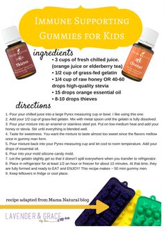 DIY immune boosting gummies with Young Living Thieves essential oils. Boost the kiddos' immunity for back-to-school with this yummy treat they will love! www.lavenderngrace.com