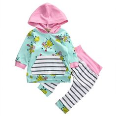 Baby Girl 2pcs Set Outfit Flower Print Hooded with Pocket Top+Striped Long Pants (0-6M, Green)